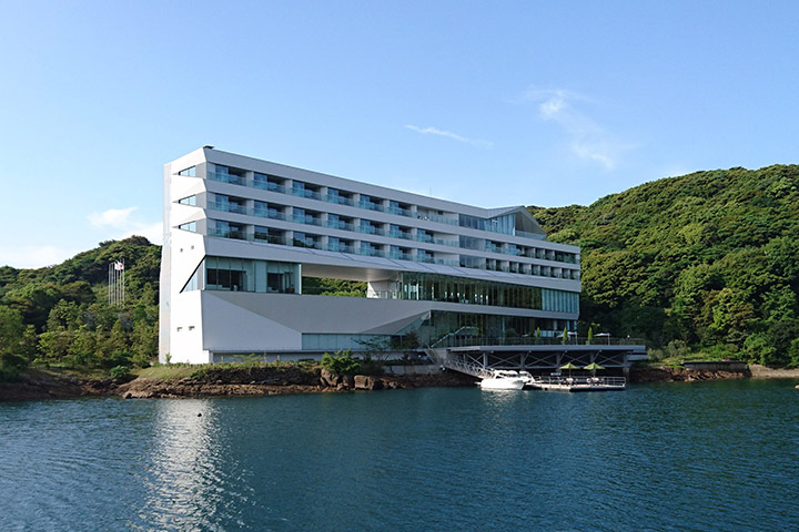 Opening of Oshima Shipyard's guest house Olive Bay Hotel.