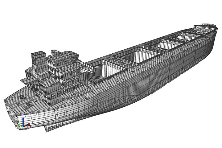 3D model of hull