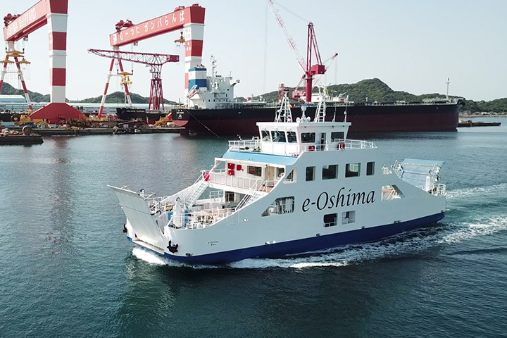 "Japan's first all-electric-battery-driven ferry boat with an autonomous ship navigation system ""E/V e-Oshima"""